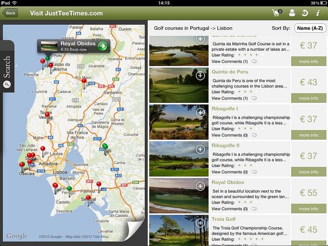 Just Tee Times' Ipad app