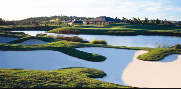 Deep bunkers and water hazards at The Big Mac