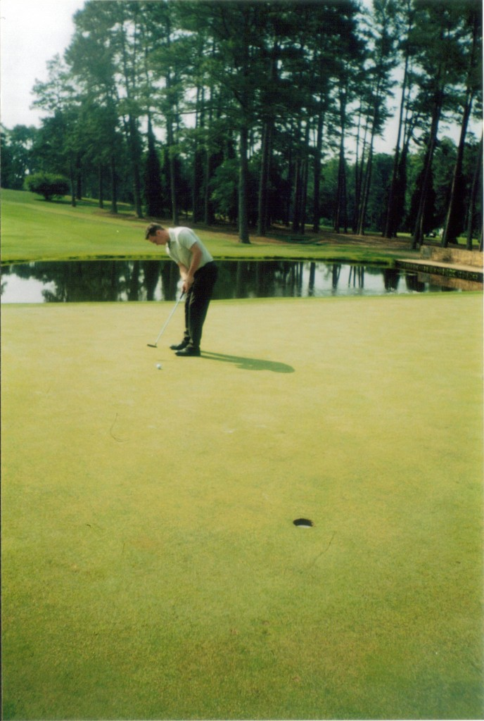 Putting on the 15th green at Augusta National