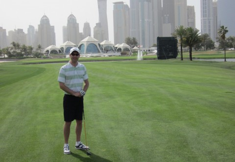 Reader Andrew Palmer on the 18th at the Emirates Club, Dubai