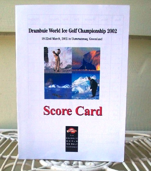 Scorecard from the Drambuie World Ice Golf Championships in Iceland