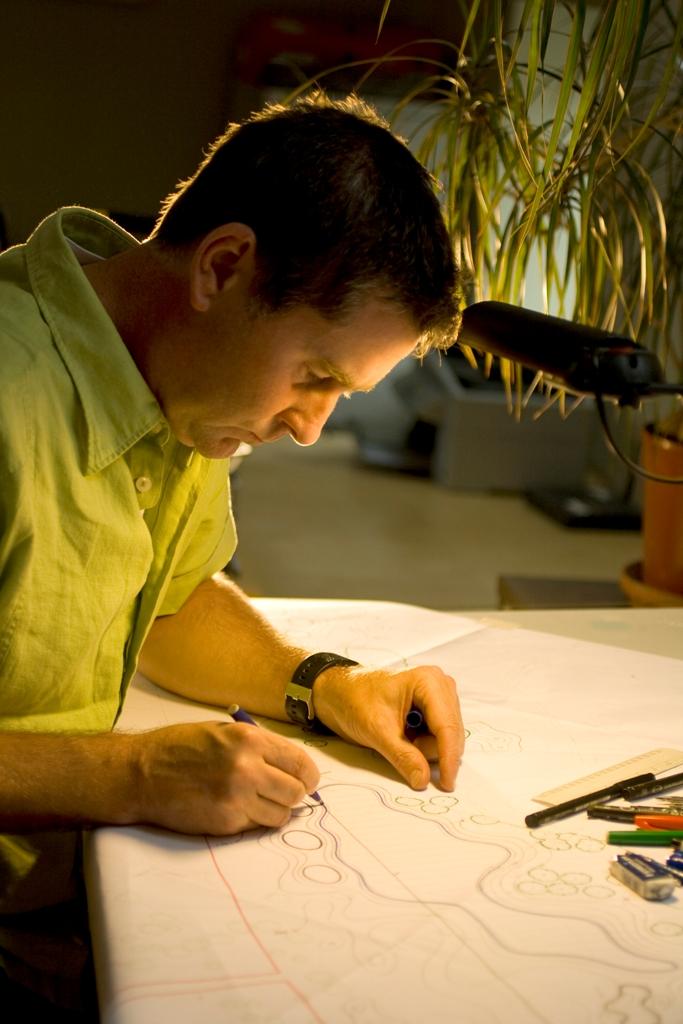 Jonathan Gaunt works on a golf course masterplan