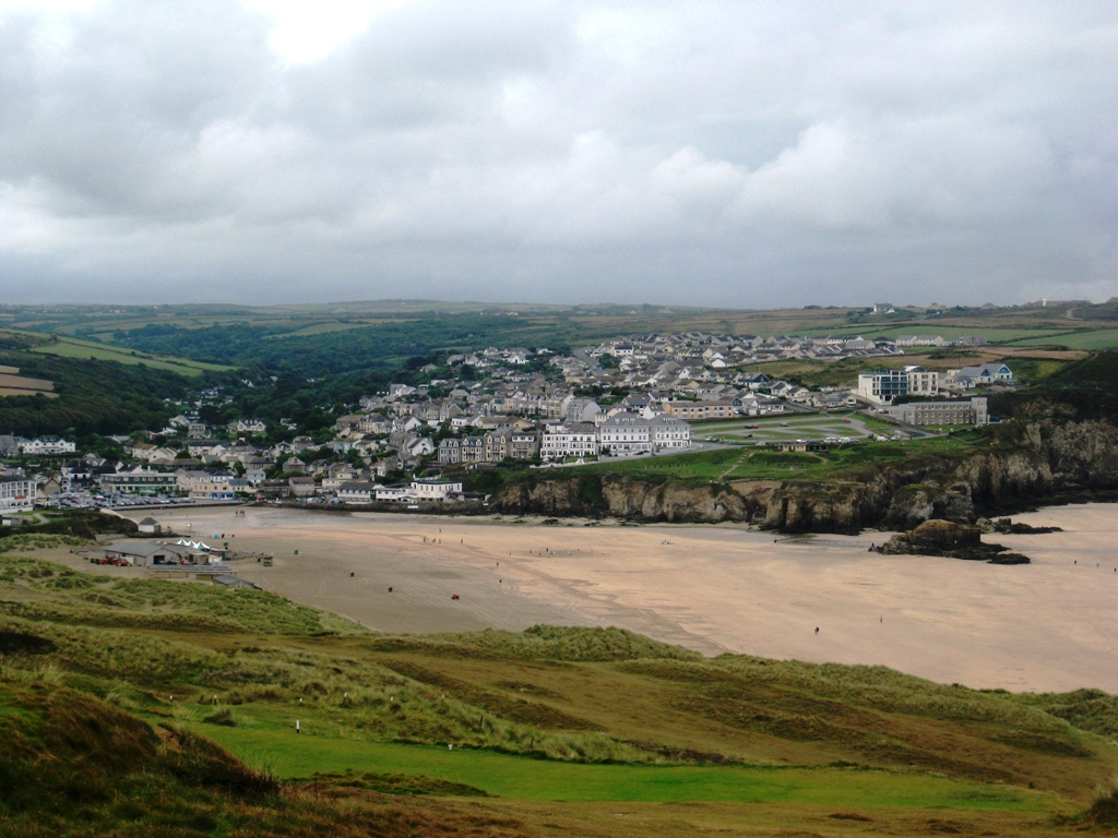Looking down on Perranporth from the golf course