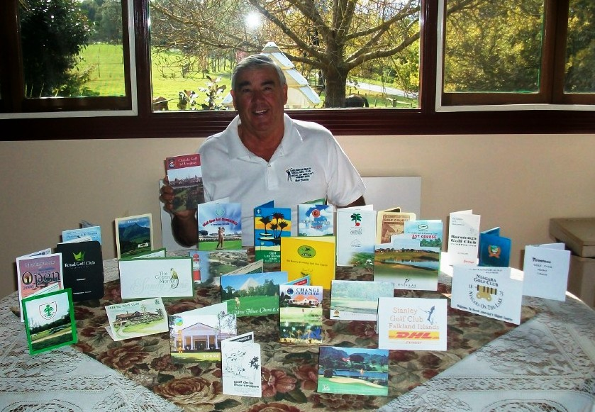 Bob Davies with some of his 234 golf scorecards