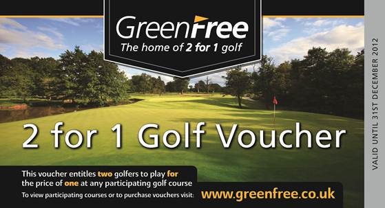 2 for 1 Green fee vouchers from Green Free