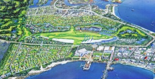 Plans for shark shaped golf course