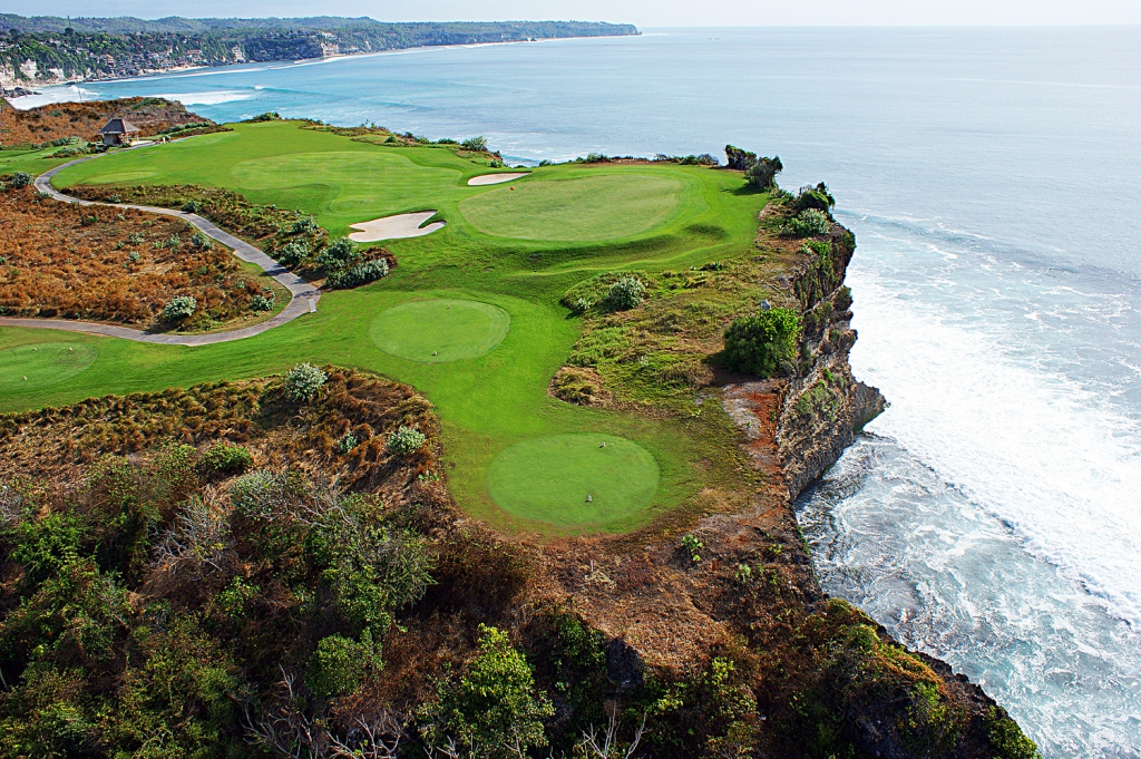 Cliff-top golf course at New Kuta Golf Bali Indonesia