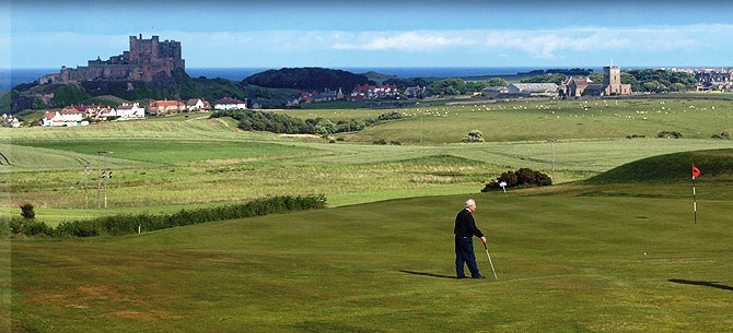 The view from Bamburgh Castle Golf Club to Northumberland Coast