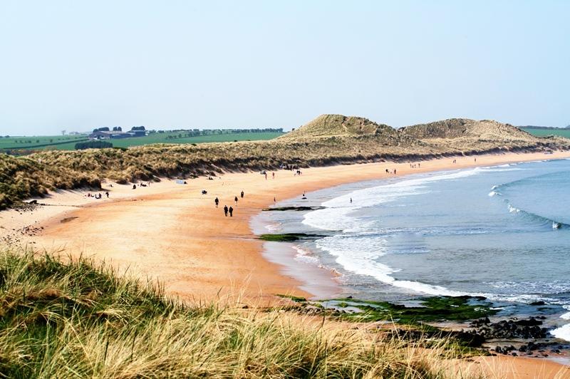 Beautiful ruddy sand beaches of the unspoilt Northumberland Coast