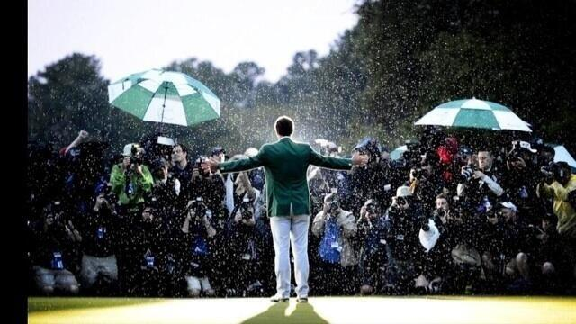 Adam Scott wearing the Masters Green Jacket