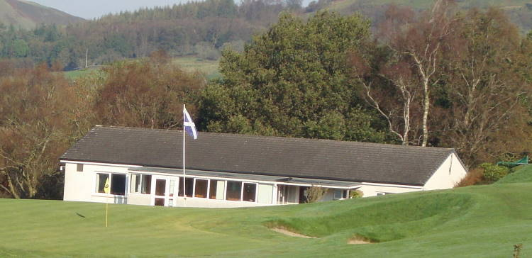 Langholm Golf Club 9th green and clubhouse