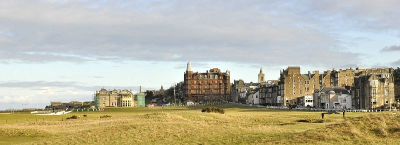 A view down the 18th hole of The Old Course at St Andrews, Scotland